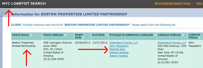 melinda katz former lobbyist for boston properties